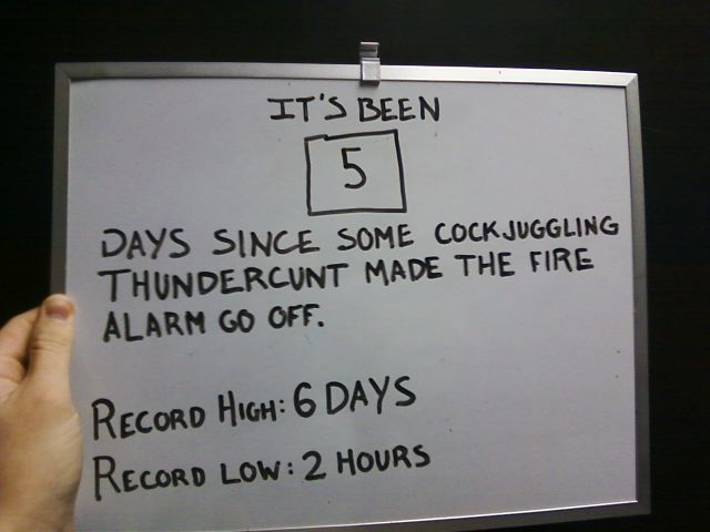 Sign reading: 5 days since some cockjuggling thundercunt made the fire alarm go off. Record high: 6 days. Record low: 2 hours.
