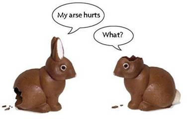 Two chocolate rabbits. One has had the bum bitten off, the other has had the ears bitten off. The first rabbit says My arse hurts! The other replies What?