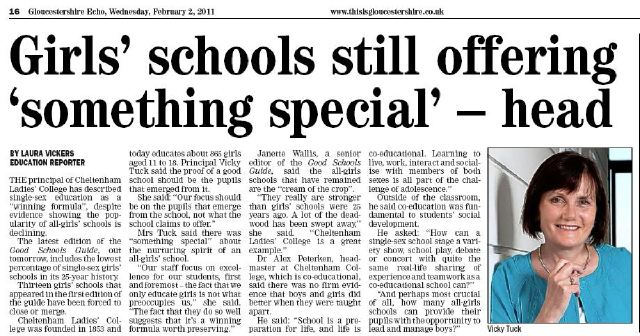 Newspaper clipping. Headline reads 'Girls schools still oferring something special - head'