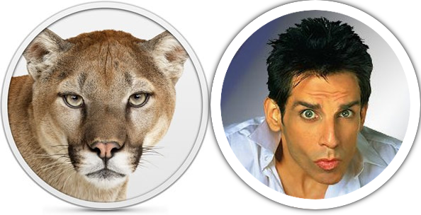 OSX Mountain Lion cat compared with Zoolander.