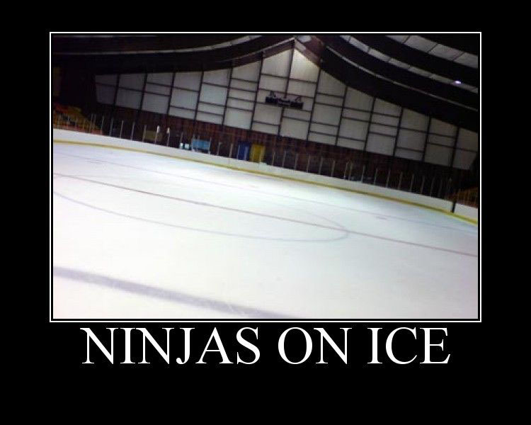 Photo of an empty ice rink, captioned: NINJAS ON ICE