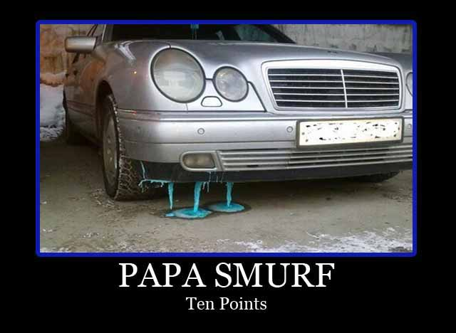 Car with blue goo dripping off front bumper. Caption: Papa Smurf, ten points.