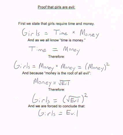 The proof that girls are evil in a mathematical equation