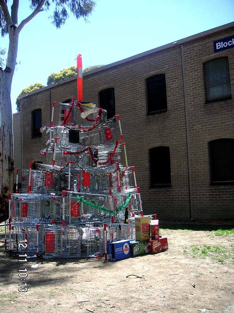 Huge christmas tree made of shopping trolleys