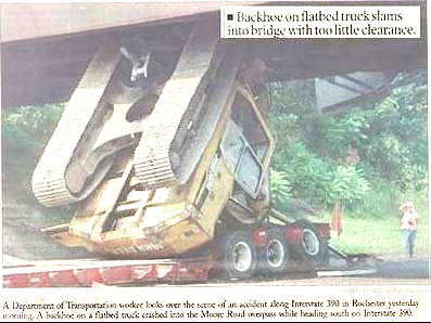 Excavator which nearly fit under a bridge