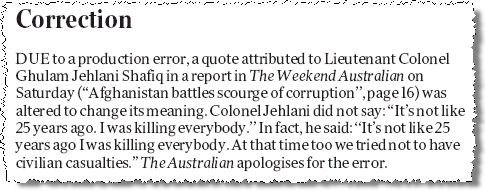 Screenshot of correction in the Weekend Australian
