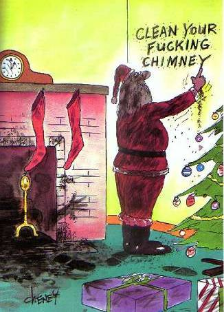 Santa writing on the wall in soot - Clean Your Fucking Chimney